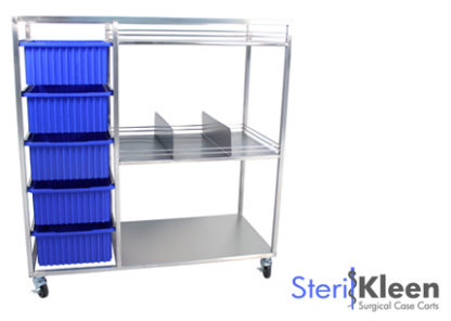 SterilKleen® Stainless Steel Open Surgical Case Cart with SterilKleen logo