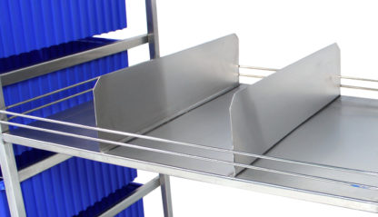 SterilKleen® Stainless Steel Open Surgical Case Cart Shelf showing Divider Organizer detail