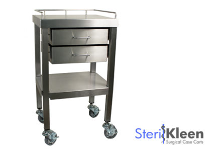 SterilKleen® Stainless Steel Surgical Utility Table Cart with Two Drawers and SterilKleen logo