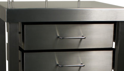 SterilKleen® Stainless Steel Surgical Utility Table Cart with Two Drawers showing drawer pull details