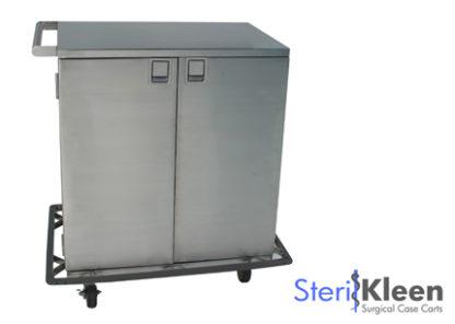 SterilKleen® Stainless Steel Double Door Surgical Case Cart with SterilKleen logo