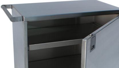 SterilKleen® Stainless Steel Single Door Surgical Case Cart showing door open with door latch detail