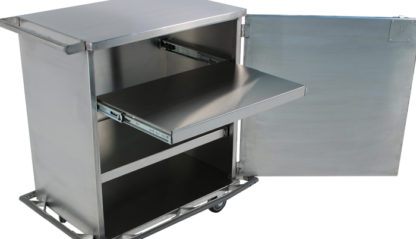SterilKleen® Stainless Steel Single Door Surgical Case Cart showing door open with optional roll-out shelf