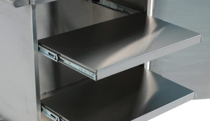 SterilKleen® Stainless Steel Single Door Surgical Case Cart showing door open with two optional roll-out shelves extended