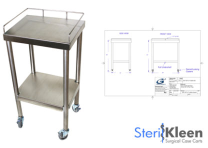 SterilKleen® Stainless Steel Surgical Utility Table Cart with SterilKleen logo and small inset engineer drawing