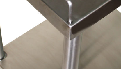 SterilKleen® Stainless Steel Surgical Utility Table Cart showing shelf corner and rail detail