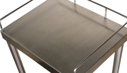 SterilKleen® Stainless Steel Surgical Utility Table Cart showing upper shelf and item-retaining rail detail