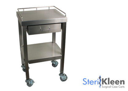 SterilKleen® Stainless Steel Surgical Utility Table Cart with One Drawer with SterilKleen Logo