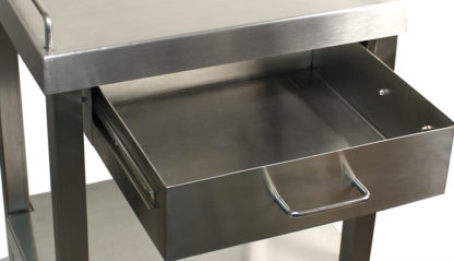SterilKleen® Stainless Steel Surgical Utility Table Cart with One Drawer Showing Drawer Open and Extended