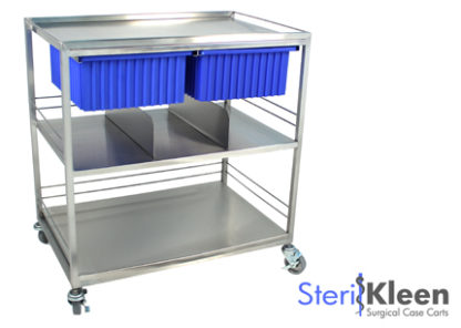 SterilKleen® Stainless Steel Surgical Distribution Cart with SterilKleen logo