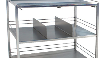 SterilKleen® Stainless Steel Surgical Distribution Cart showing Shelf Divider Organizers Detail