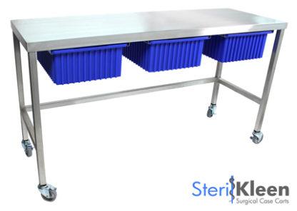 SterilKleen® Stainless Steel Mobile Utility Table Cart with SterilKleen logo