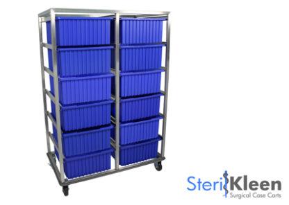 SterilKleen® Stainless Steel Tote Box Cart with SterilKleen logo