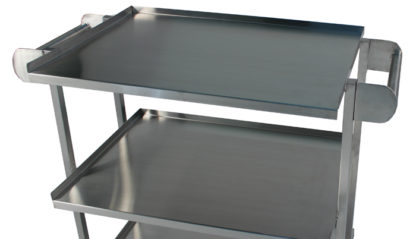SterilKleen® Stainless Steel Utility Case Cart showing Push Handles and Shelf Detail