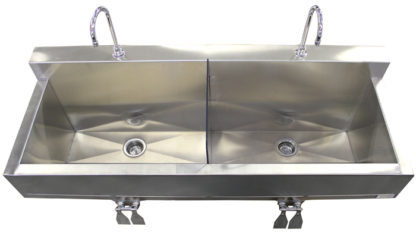 SurgiKleen® Stainless Steel Wall Mount Two Bay Sink showing interior detail