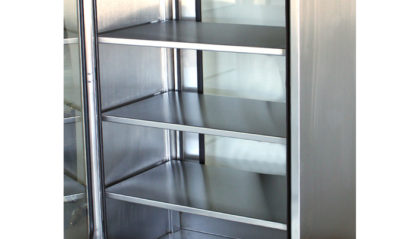 SterilKleen® Stainless Steel Operating Room Casework Cabinet showing removable shelves detail