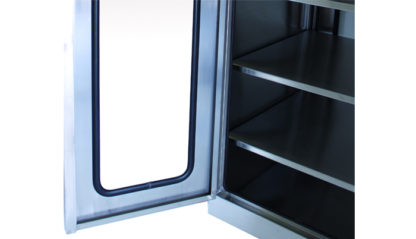 SterilKleen® Stainless Steel Operating Room Casework Cabinet showing removable shelves and door interior detail
