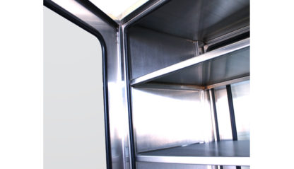 SterilKleen® Stainless Steel Operating Room Casework Cabinet showing removable shelves and door interior detail upper view