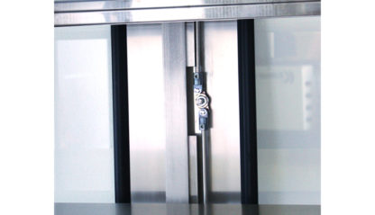 SterilKleen® Stainless Steel Operating Room Casework Cabinet showing stainless steel latching hardware