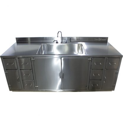 front view of SterilKleen® Stainless Steel Multi-Storage Casework with Sink, gooseneck faucet, 3 cabinets, and 8 drawers