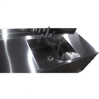Top down view of SterilKleen® Stainless Steel Multi-Storage Casework Sink detail
