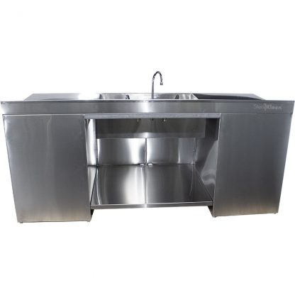 Rear view of SterilKleen® Stainless Steel Multi-Storage Casework with Sink