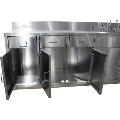 SterilKleen® Stainless Steel Laboratory Cabinet with Sink showing left side cabinet doors open and interior detail.