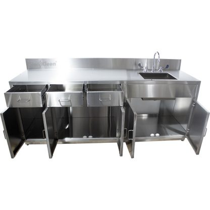 SterilKleen® Stainless Steel Lab Cabinet with Sink shown from front with all 3 drawers and all 5 cabinet doors opened. open