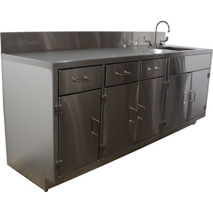 SterilKleen® Stainless Steel Lab Cabinet with Sink viewed from left angle.