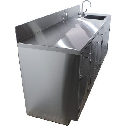 SterilKleen® Stainless Steel Lab Cabinet with Sink shown from left end.