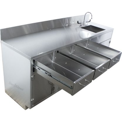SterilKleen® Stainless Steel Laboratory Cabinet with Sink shown from left end with the 3 drawers fully opened.