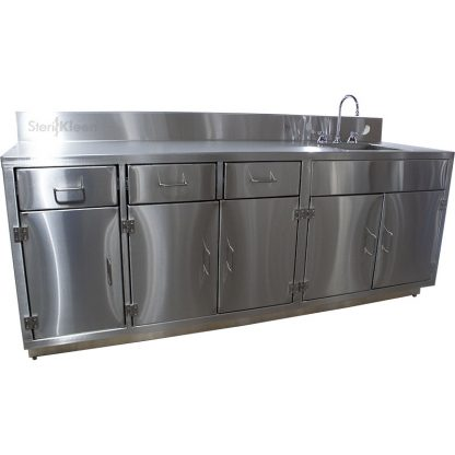SterilKleen® Stainless Steel Laboratory Cabinet with Sink. Main image for product listing with SterilKleen logo superimposed. Part Number GAT-LAB-CAB-248434-1-SS-ST