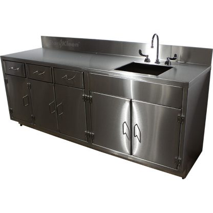 SterilKleen® Stainless Steel Laboratory Cabinet with Sink. Right angle view image for product listing with SterilKleen logo superimposed.